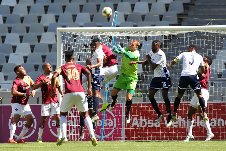 Boy de Jongh of Stellenbosch FC punches the ball during the Absa Premiership match between Stellenbosch FC and Bivest Wits at Cape Town Stadium on January 04, 2020 in Cape Town, South Africa.
