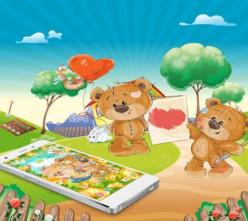 Kawaii Cartoon Brown Bear Launcher Theme - náhled