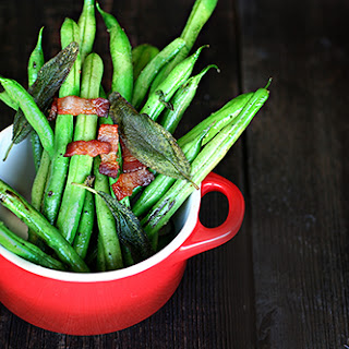 Recipe for Bacon Green Beans with crispy sage