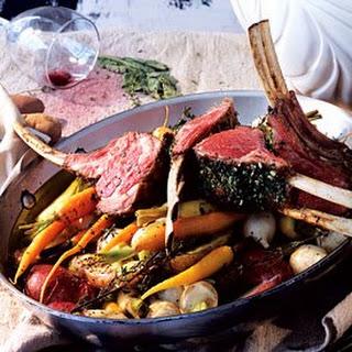 Rack of Lamb with Garlic and Herbs Recipe | Epicurious.Com Recipe