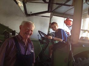Photo: Hiener let Riley start his tractor!