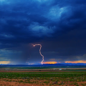 High Desert Storm by Brent Flamm - Landscapes Weather ( clouds, strike, desert, lighting, utah, weather, storm, panorama )
