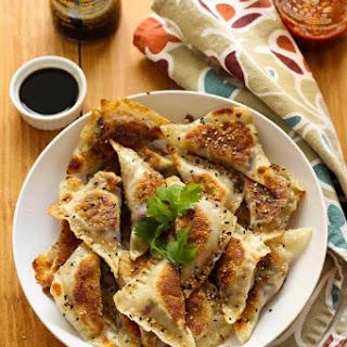 Chicken, Red Cabbage & Triple Mushroom Potstickers.