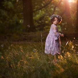Into the woods! by Patricia Wouterse - Babies & Children Child Portraits ( dreamy, girl, nature, sunset, toddler, woods, golden hour )