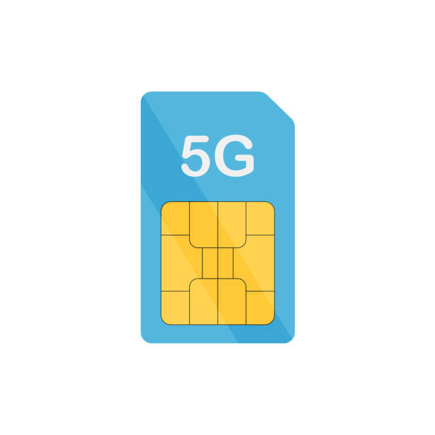 5G sim card mobile in flat style 5G sim card mobile in flat style, vector sim plans stock illustrations
