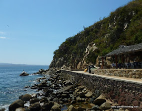 Photo: Conde's restaurant, overlooking the cove at Tehuamixtle