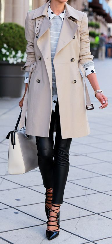 Lovely outfit with neutral trench coat, gray sweater and black leather pants for Light Summer women