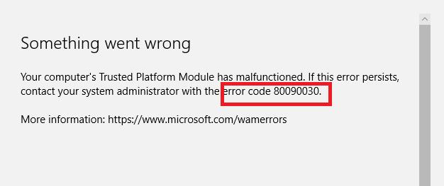 MS Office 365 Error Code 80090030