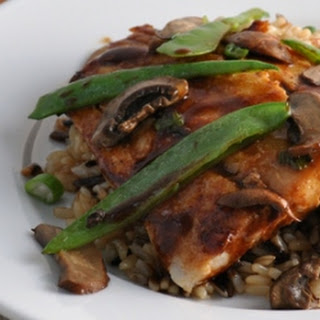 Hoisin Flounder with Snow Peas and Mushrooms