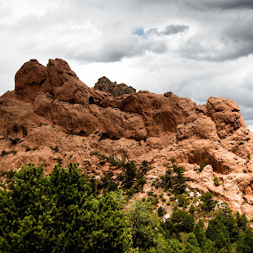 Shining on the Stone by Andrew Brinkman - Landscapes Caves & Formations ( clouds, stone, rock formation, storm, light, sun, garden of the gods )