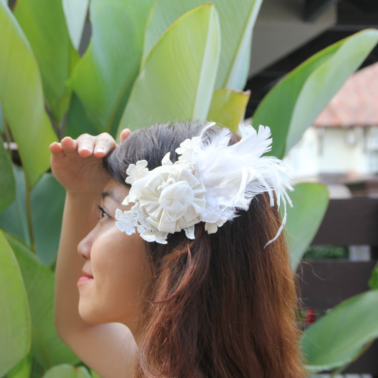Rose/Pearl/Feather Bridal Clip on (large lace base)