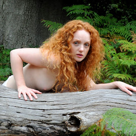 Nereid Disturbed by DJ Cockburn - Nudes & Boudoir Artistic Nude ( natural light, nude, topless, nature, woman, forest, redhead, ivory flame, portrait )