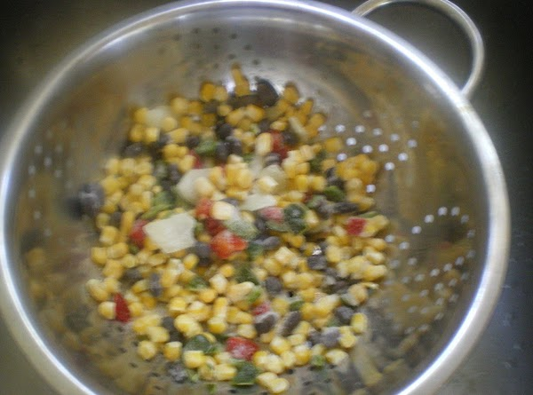 In your colander pour package of Bird's Eye Recipe Ready Southwestern blend.