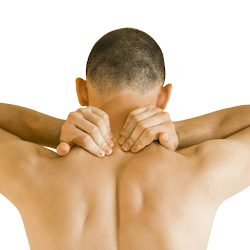 man presing the muscles of his neck and shoulders
