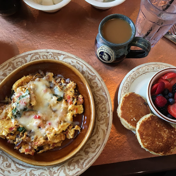 Sunrise spinach omelet, seasonal fruit and GF pancakes.