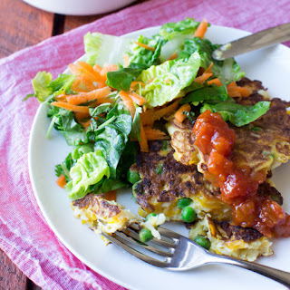 Pumpkin, Pea and Haloumi Fritters