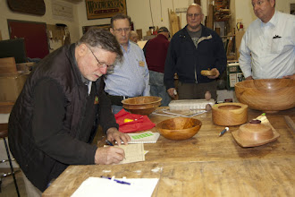 Photo: Richard Webster checking in his bowl for show and tell.