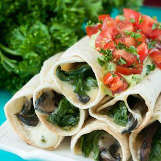 Cheesy Baked Spinach and Portobello Flautas