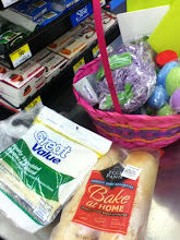 Photo: Here are all of my goodies.  The Easter basket came in handy as a cart!