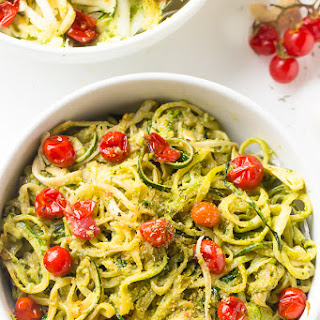 Pesto Zucchini Noodles with Burst Cherry Tomatoes.
