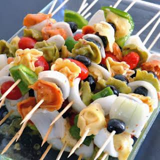 Cold Tortellini Salad Skewers.