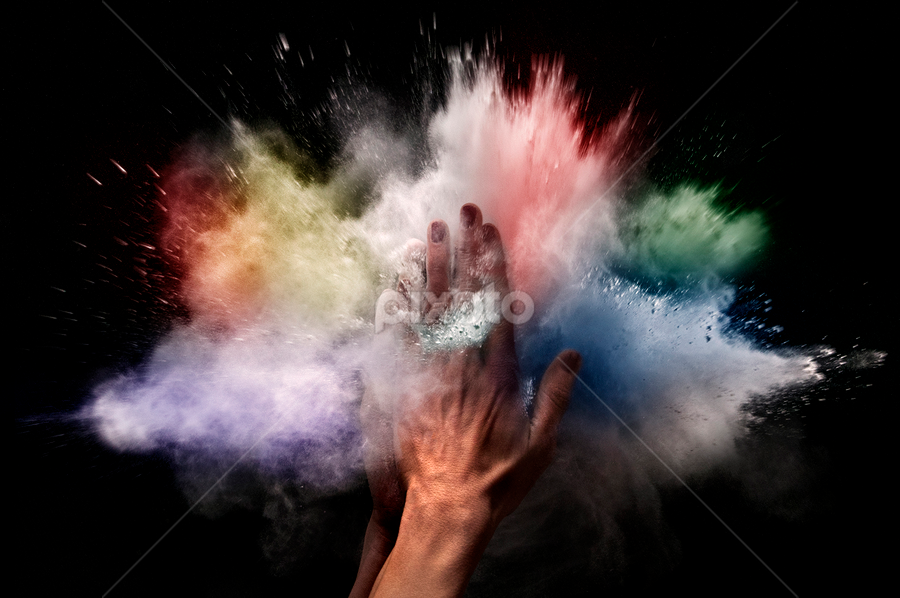 Neutron Star Collision by Alberto Ghizzi Panizza - People Body Parts ( hands, colors, explosion, powder )
