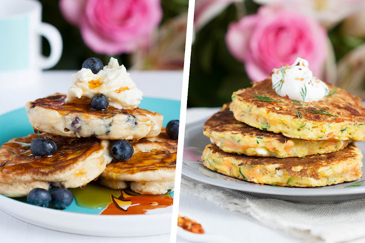 Sweet Blueberry Mascarpone and Savory Courgette, Carrot and Feta Pancakes Recipe