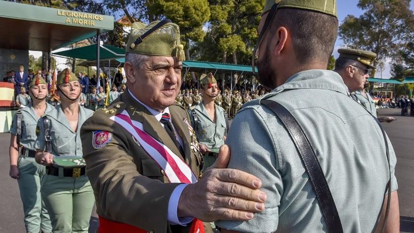 El general Varela el sábado en la base de Viator