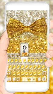 Gold glitter bowknot keyboard - náhled