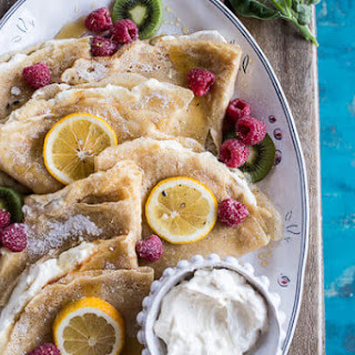 Lemon Sugar Crepes with Whipped Cream Cheese..