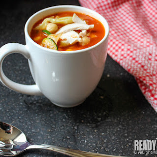 Grecian-style Healthy Vegetable Soup With Chicken.
