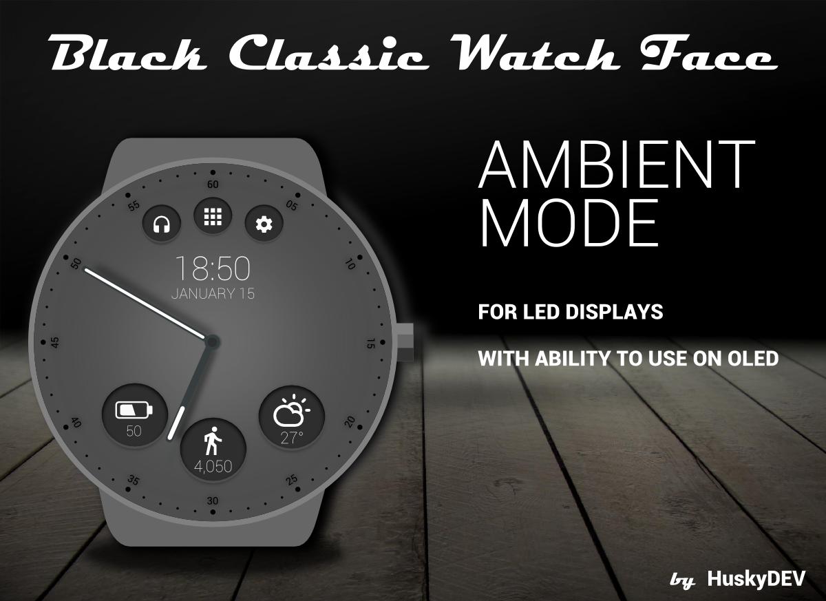 Black face app - Black Classic Watch Face Screenshot