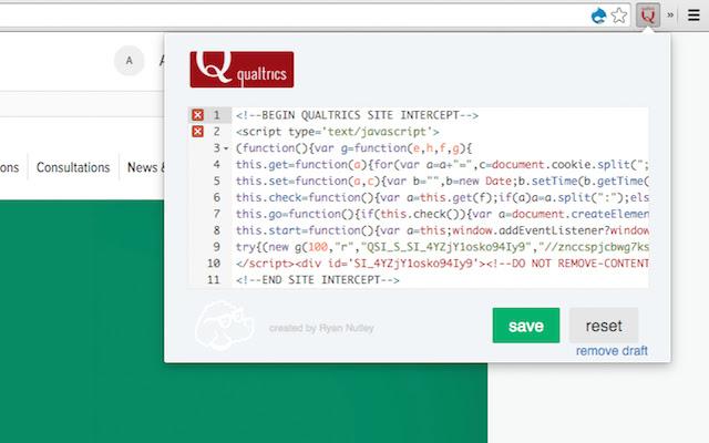 Qualtrics Site Intercept Testing Tool