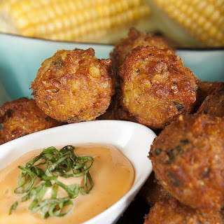 Sweet Corn Fritters with Spicy Honey Aioli Recipe