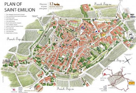 Saint-Emilion (Сент-Эмильон) - карта города с достопримечательностями
