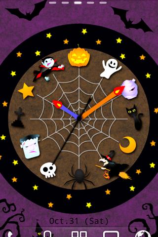 ハロウィン時計 ライブ壁紙