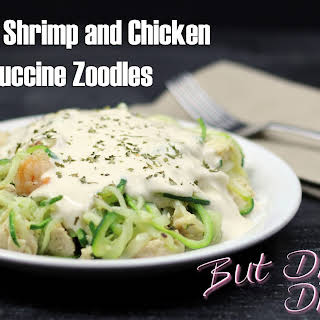 Low Carb Shrimp and Chicken Fettuccine Zoodles.