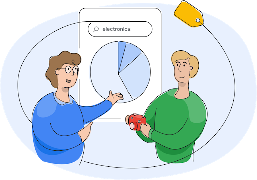A Google Shopping team member talking to a business owner about pie graphs