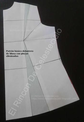 Patrón básico de blusa con pinzas eliminadas para cortar blusas de moda