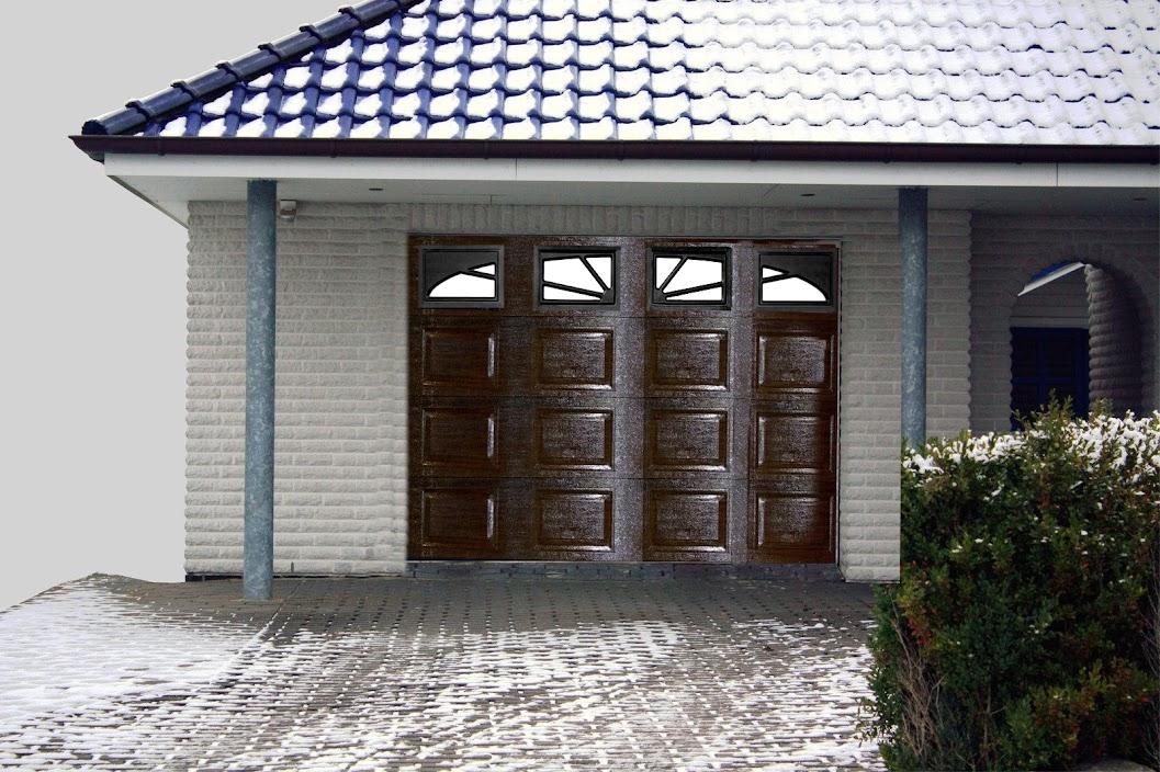 tor sektionaltor 3040 2180 mm garagentor garagentore braun box 4xfenster neu machermann shop. Black Bedroom Furniture Sets. Home Design Ideas