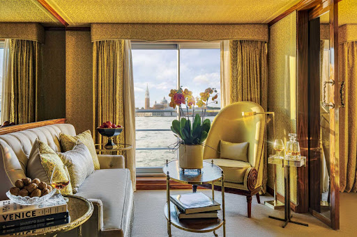 Spread out in a spacious grand suite during your voyage through northern Italy on S.S. La Venezia.