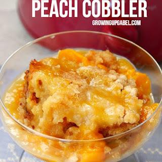 Slow Cooker Peach Cobbler.