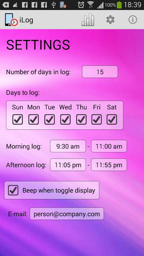 iLog device use logger - Trial- screenshot