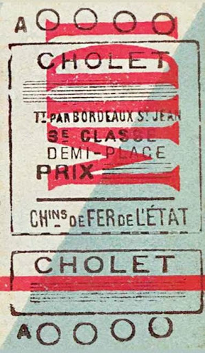 Midi railway ticket from Cholet via Bordeaux, 3rd class