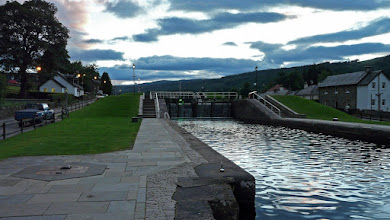 Photo: Fort Augustus locks looking West at night
