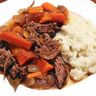 "Crockpot Paleo Pot Roast with Mashed ""Potatoes""."