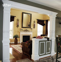 Photo: (After) Gorman's Breakfast room doorway with half wall, square pillars and header Schwenksville, PA