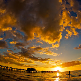 Naples Pier by Chris Wilson - Landscapes Beaches ( clouds, sand, naples, florida, sunset, naples pier, paddle boarding, pier, beach, seascape, gulf of mexico, landscape )