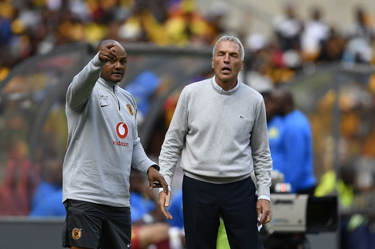 Kaizer Chiefs coach Ernst Middendorp speaks to his assistant coach Shaun Bartlett during the Absa Premiership match between Kaizer Chiefs and Mamelodi Sundowns at FNB Stadium on January 05, 2019 in Johannesburg, South Africa.
