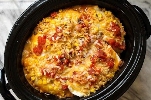 Cheesy Green Chile Chicken Crock Pot Enchiladas